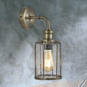 Antique Brass Seeded Glass Wall Light