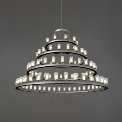 Silver Industrial Tiered Chandelier