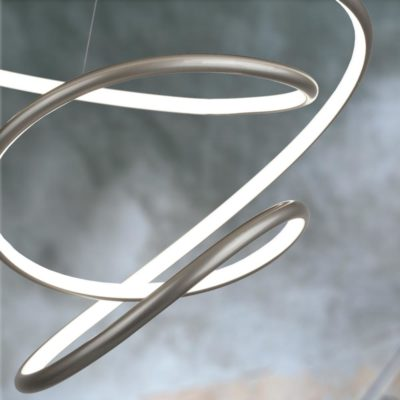 Silver LED Hoop Spiral Pendant Light