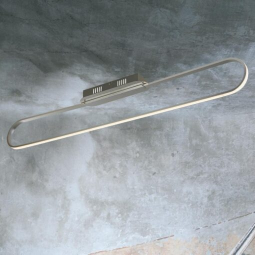Satin Silver LED Linear Oval Flush