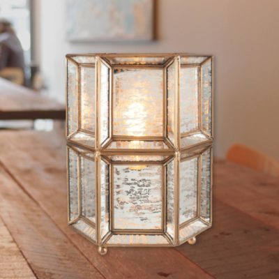 Silver Moroccan Geometric Glass Table Lamp