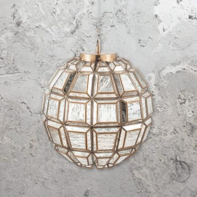Silver Moroccan Glass Geometric Pendant Light