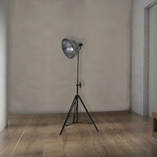 industrial adjustable silver tripod floor lamp