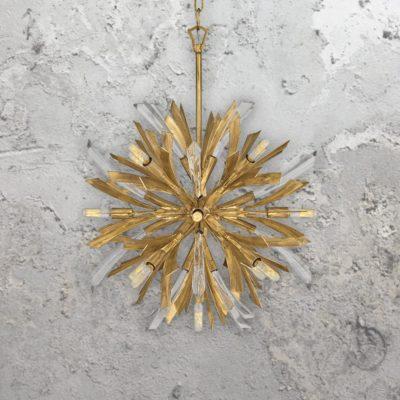 Small 13 Light Gold Burst Pendant Light