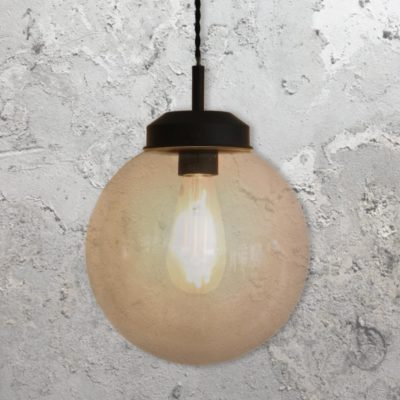 Smoked Glass Globe Pendant Light 250mm