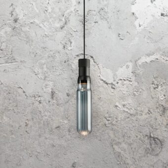 Smoked Glass Tube Pendant Light