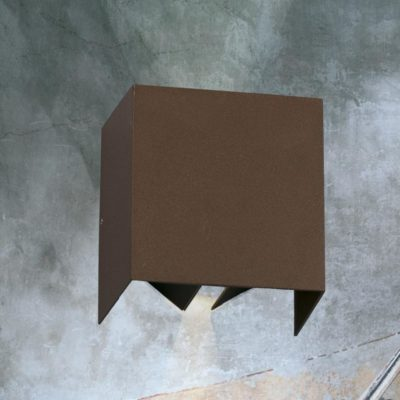 Square Rust Outdoor Wall Light