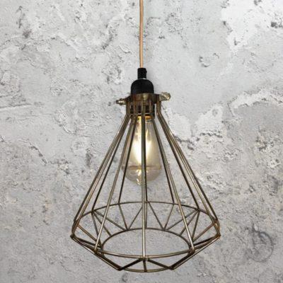 Steel Geometric Cage Pendant Light CLB-00549-Copper