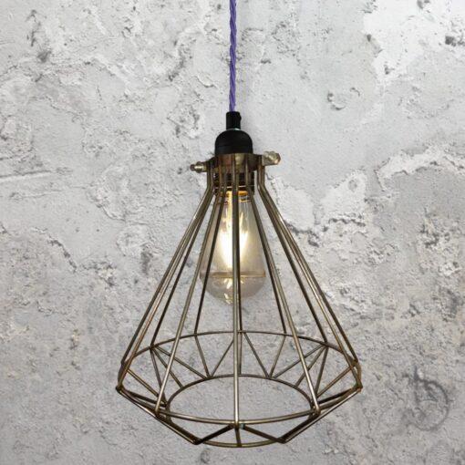 Steel Geometric Cage Pendant Light CLB-00549-Purple