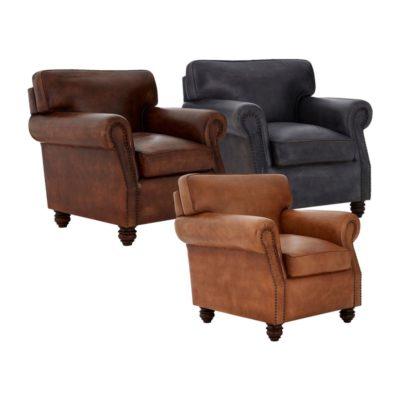 Studded Vintage Leather Armchair