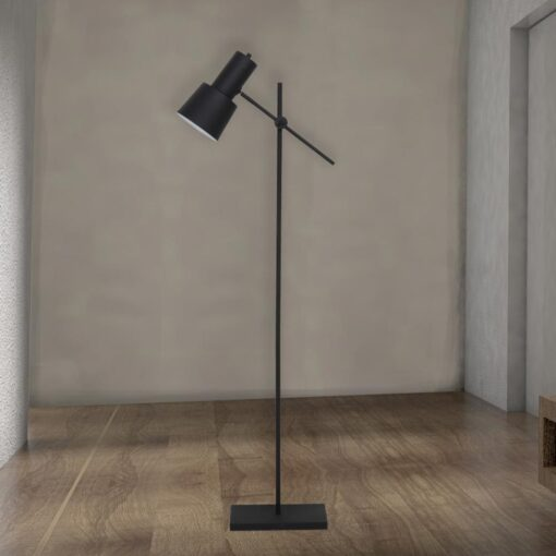 Tall Adjustable Black Industrial Floor Lamp
