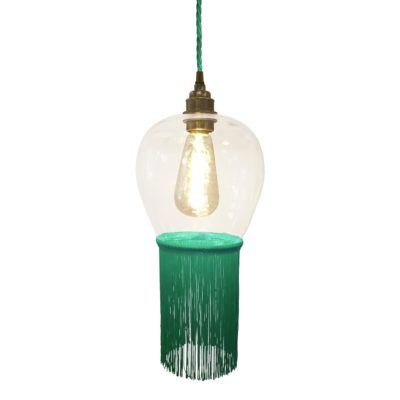 Teal Blue Fringe Glass Pendant Light
