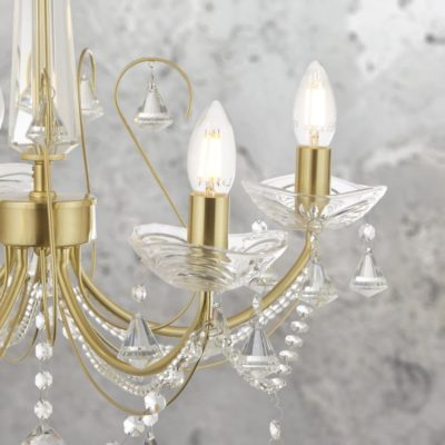 Traditional 5 Light Gold Clear Crystal Chandelier
