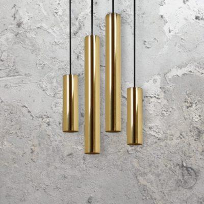 Polished Brass Cluster Bespoke Tube Pendant Lights