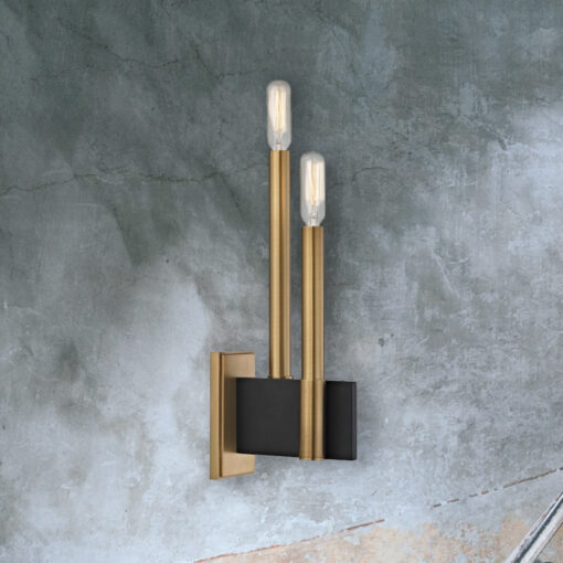 Twin Contemporary Brass Wall Light