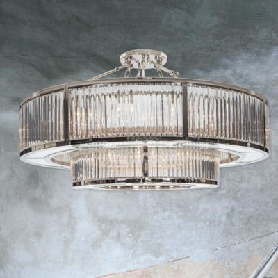 Polished Nickel Two Tier Crystal Chandelier