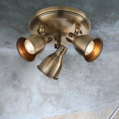 Vintage Brass 3 Light Spotlight Plate
