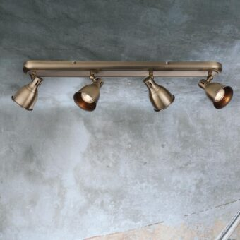 Vintage Brass 4 Light Spotlight Bar