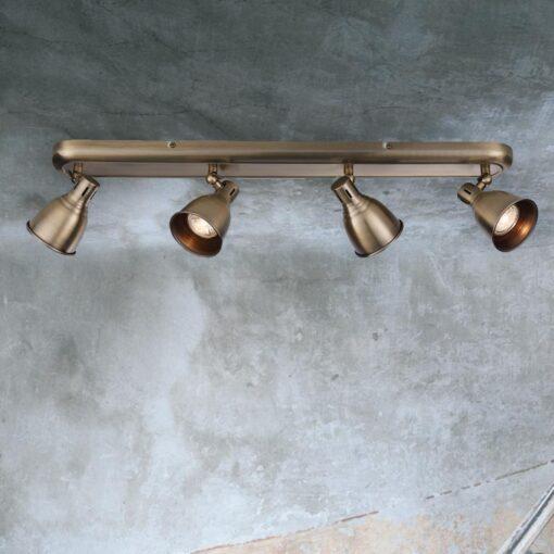 Vintage Brass 4 Light Spotlight Bar