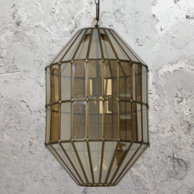 Vintage Geometric Smoked Glass Pendant Light