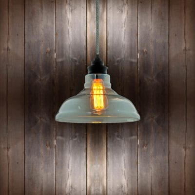 Vintage Glass Pendant Light Round Tweed