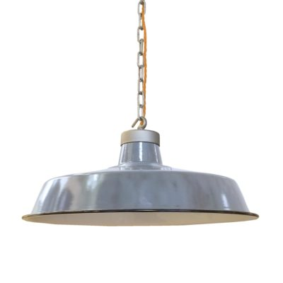 Vintage Grey Enamel Pendant Light