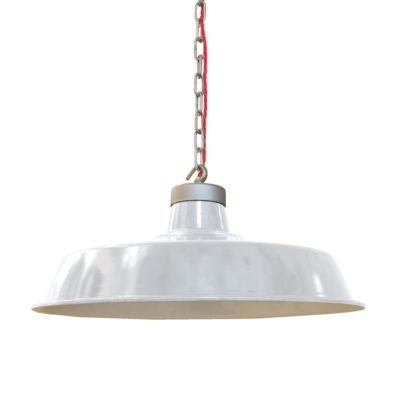 Vintage White Enamel Pendant Light