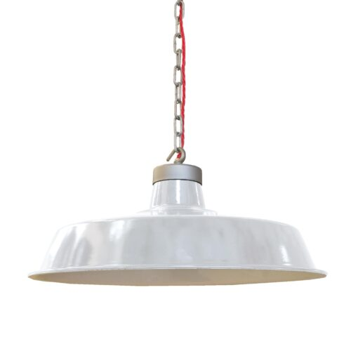 Vintage White Enamel Pendant Light