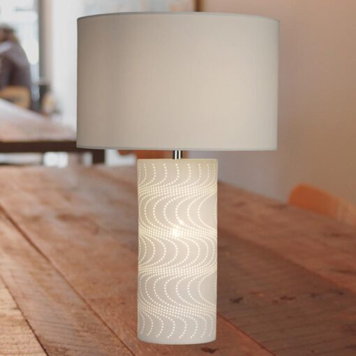 Wave Pattern Table Lamp with White Shade