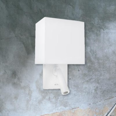 White Bedside Wall Reading Light with White Shade