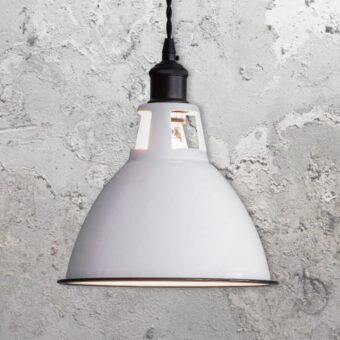 White Enamel Dome Pendant Light