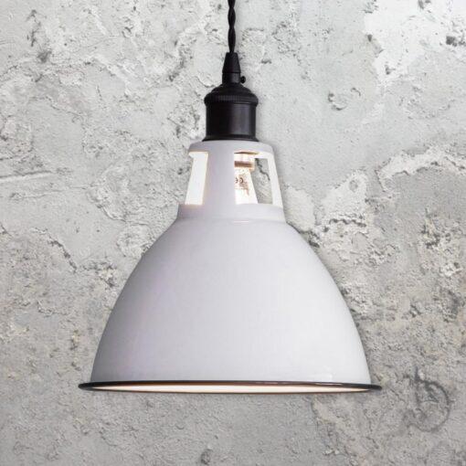 White Enamel Dome Pendant Light