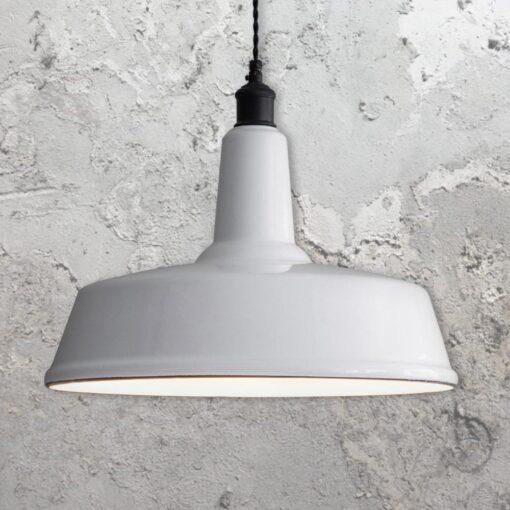 White Enamel Factory Pendant Light
