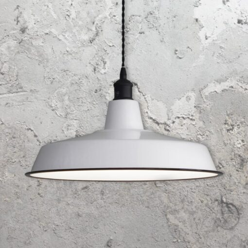 White Enamel Reflector Pendant Light