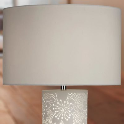White Flower Pattern Table Lamp with White Shade