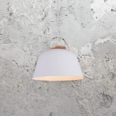 White Minimal Wood Pendant Light