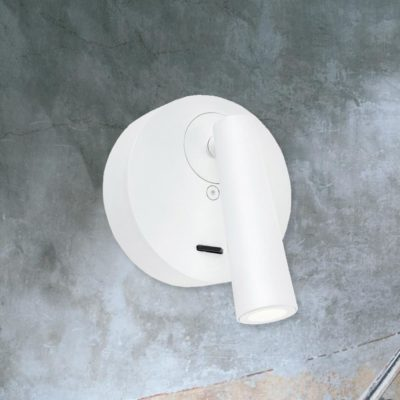 White Round Bedside LED Reading Lamp