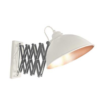 White Scissor Arm Wall Light Copper Inner