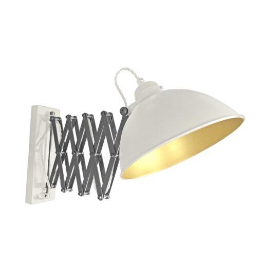 White Scissor Arm Wall Light Satin Brass Inner
