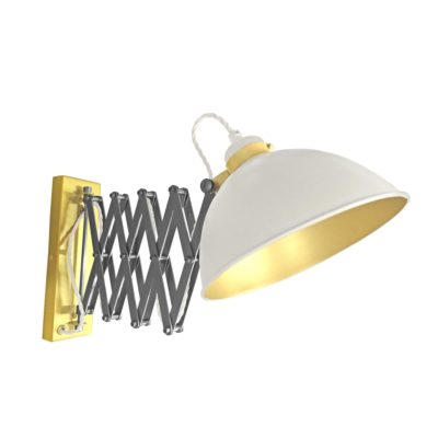 White Scissor Arm Wall Light Satin Brass Inner