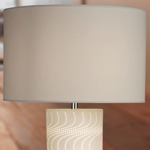White Wave Pattern Table Lamp with White Shade