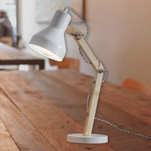 White Wooden Desk Lamp
