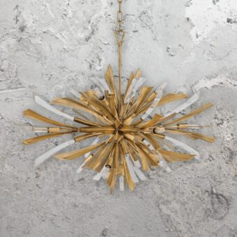 Wide 13 Light Gold Burst Pendant