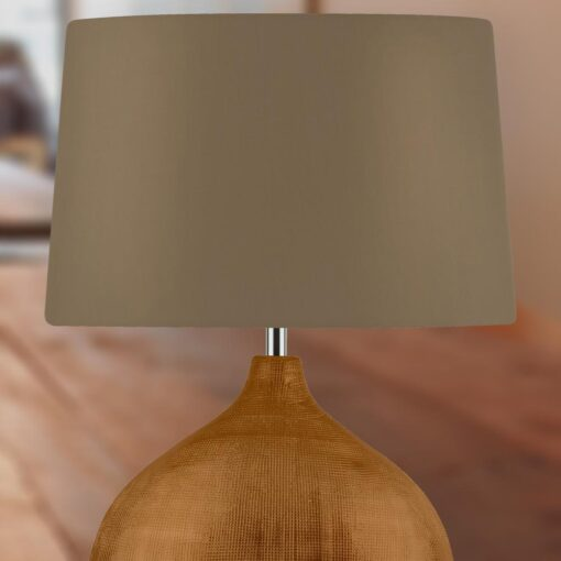 Wide Bronze Table Lamp with Brown Shade