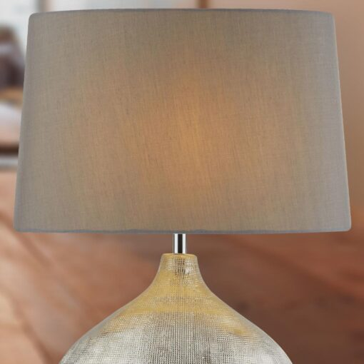 Wide Chrome Table Lamp with Grey Shade