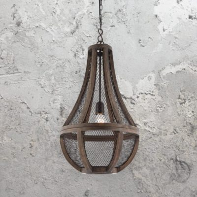 Wood Mesh Pendant Light