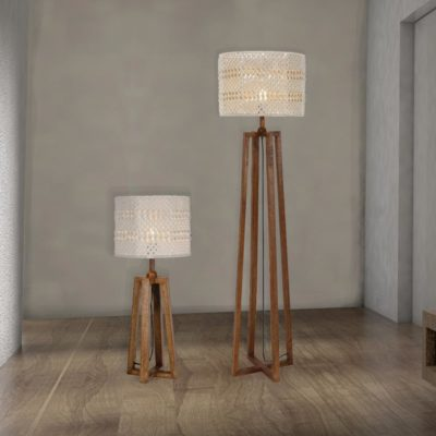Wooden Floor And Table Lamp Set