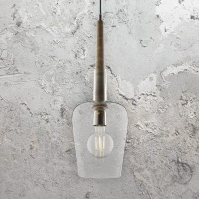 Wooden Rod Glass Pendant Light