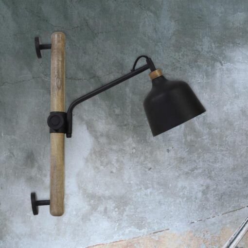 Rustic Wooden Task Wall Light