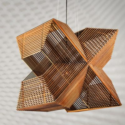 X Shaped Wood Pendant Light